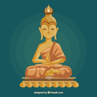 Golden budha with flat design