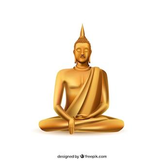 Золотой будха с реалистичным стилем