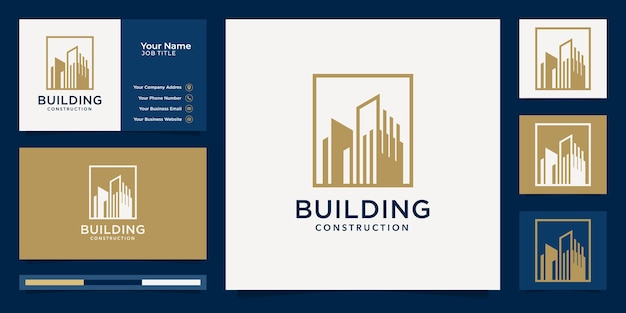 Golden building logo design inspiration and business card