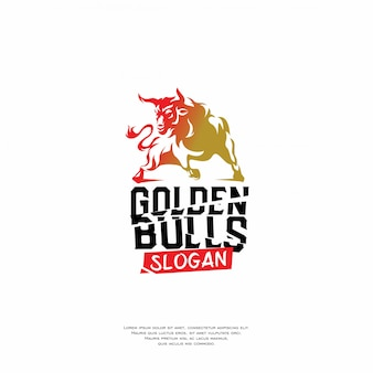 Golden bulls logo icon design