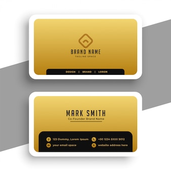 Golden business card in minimal elegant style