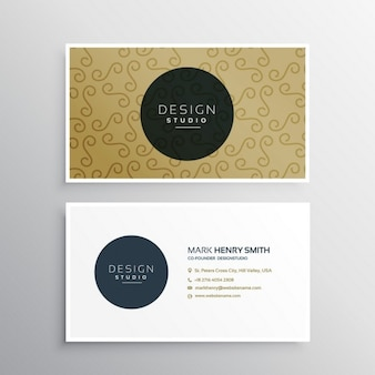 Golden  business card with ornaments