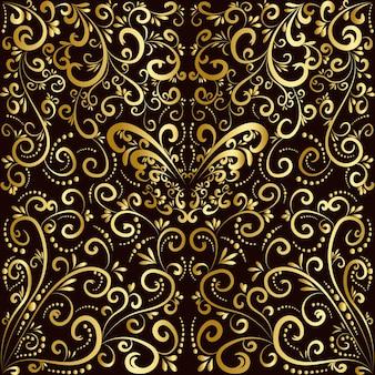 황금 나비와 식물 추상 미술 개념
