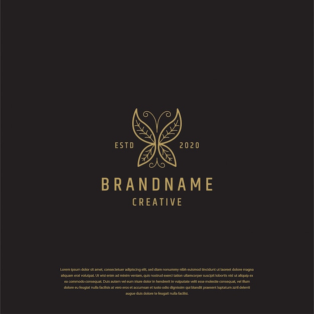 Golden butterfly logo design