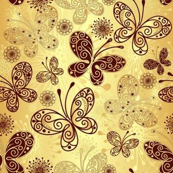Golden butterfly pattern background vector set