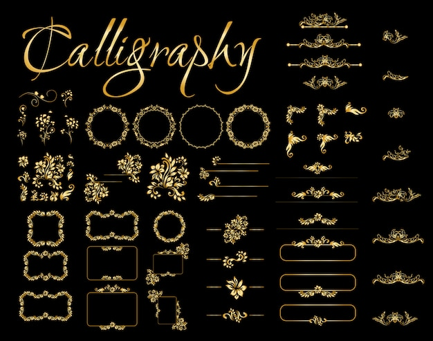 Golden calligraphic design elements on black background.