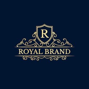 Golden calligraphic feminine floral hand drawn monogram antique vintage style luxury logo design