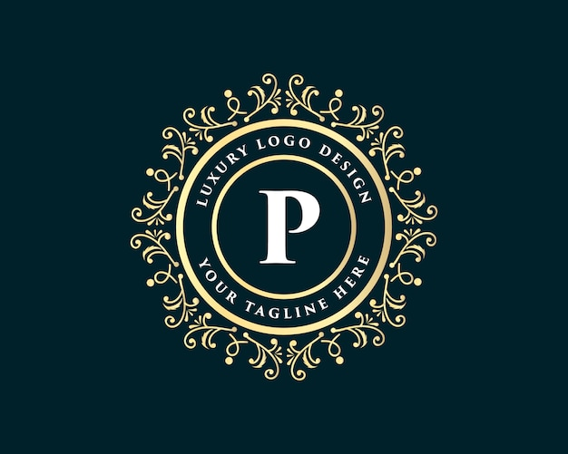 Golden calligraphic floral hand drawn monogram antique vintage style luxury logo design with crown suitable for hotel restaurant cafe coffee shop spa beauty salon luxury boutique cosmetic and decor