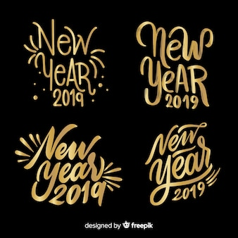 Golden calligraphic new year label collection