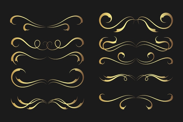 Golden calligraphic ornament collection
