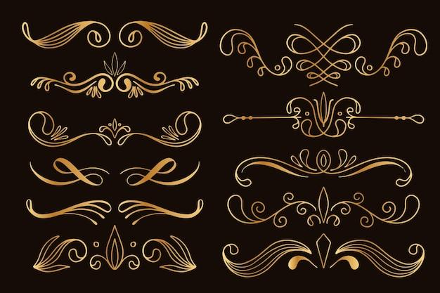 Коллекция золотого каллиграфического орнамента