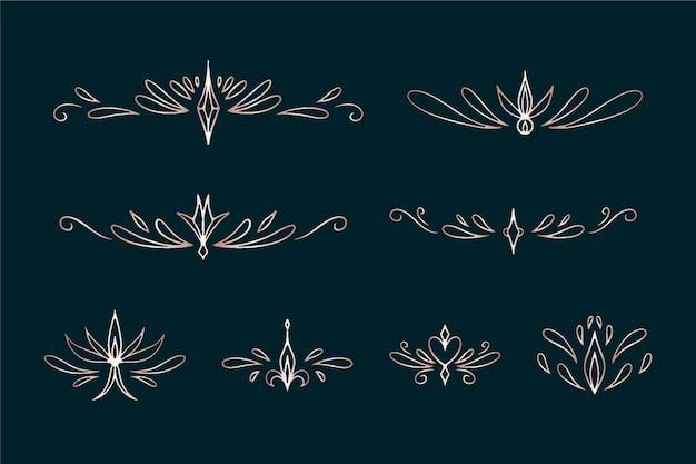 Golden calligraphic ornament set
