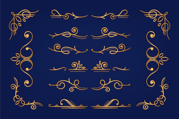 Golden calligraphic ornamental element collection