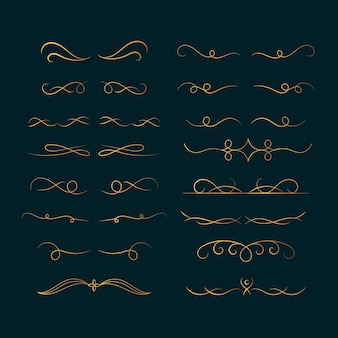 Pacchetto di elementi ornamentali calligrafici dorati