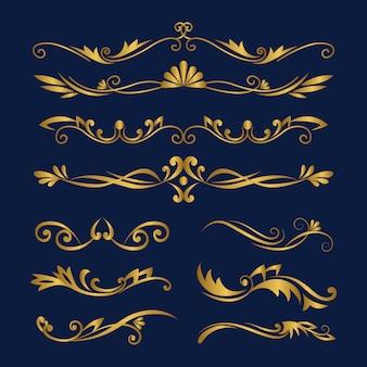 Insieme di elementi ornamentali calligrafici d'oro