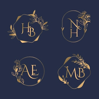 Золотые каллиграфические свадебные логотипы с монограммой