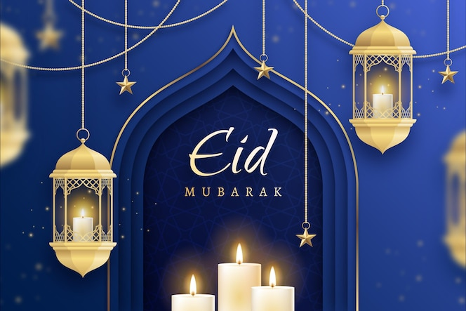 Golden candles flat design eid mubarak