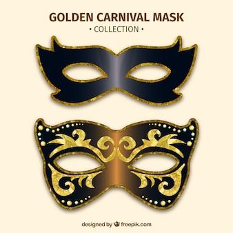 Golden carnival mask set