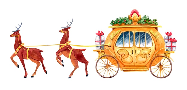 Golden  carriage with gifts drawn by two deer painted in watercolor