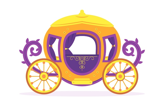 Golden carriage with roses thorns fairy tale concept