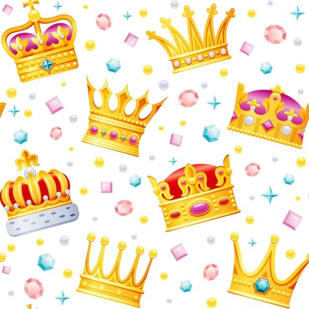 Золотой мультфильм короны бесшовные модели.