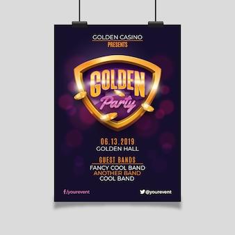 Golden casino party flyer template