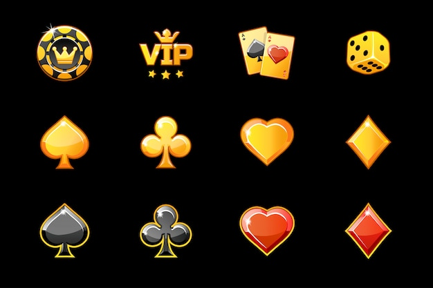 Golden casino, poker game symbols