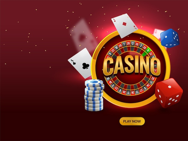 Golden casino over roulette wheel with 3d dice, poker chips and playing cards on red background.