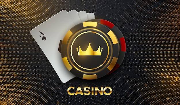 Golden casino sign with playing cards and gambling chips
