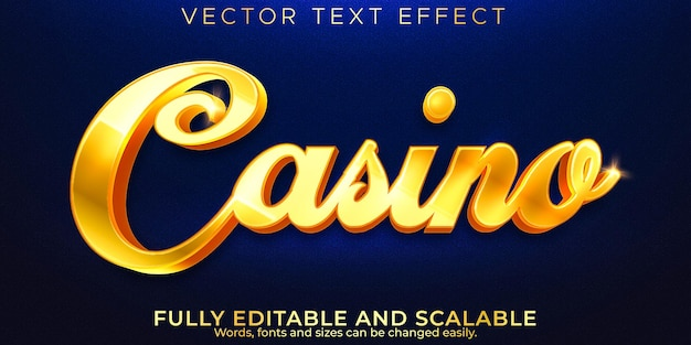 Golden casino text effect, editable luxury and elegant text style