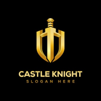 Golden castle knight with shield  logo