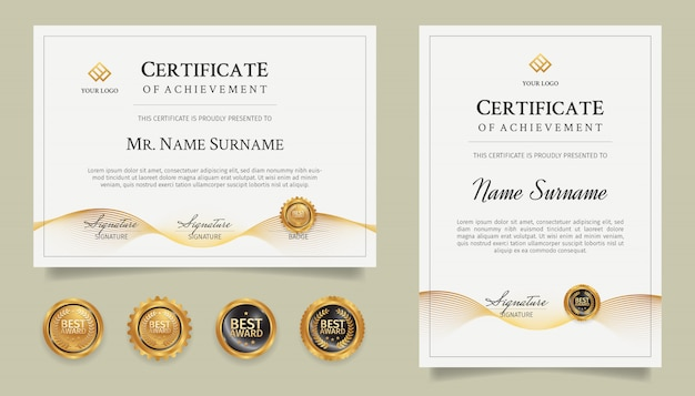 Golden certificate of achievement template