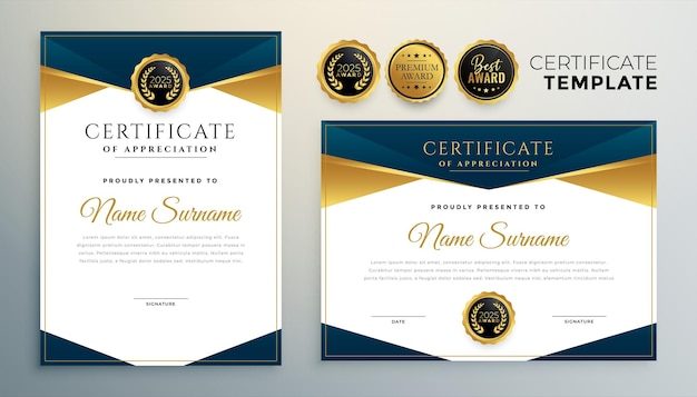 Golden certificate award template for multipurpose use
