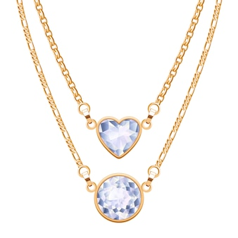 Golden chain necklaces set with round and heart diamond pendants. jewelry  .