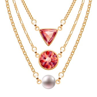 Golden chain necklaces set  with round and triangle ruby pendants and pearl. jewelry  .