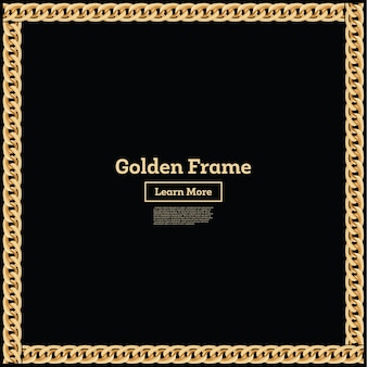 Golden chain square border frame. rectangle shape. jewelry design. vector illustration.