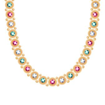 カラフルな宝石のネックレスまたはブレスレットが付いている金の鎖。個人的なファッションアクセサリーエスニックインドスタイル。
