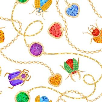 ゴールデンチェーンとジェムストーンのシームレスパターンのブローチ。ファブリックテキスタイルのジュエリーエメラルド、ゴールドアクセサリー、宝石、ダイヤモンドのファッションパターン。ベクトルイラスト