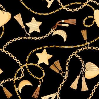 ダイヤモンドのシームレスなパターンを持つゴールデンチェーンとチャーム。ゴールド、宝石、壁紙、印刷用のジュエリー要素とファッションファブリックの背景。ベクトルイラスト