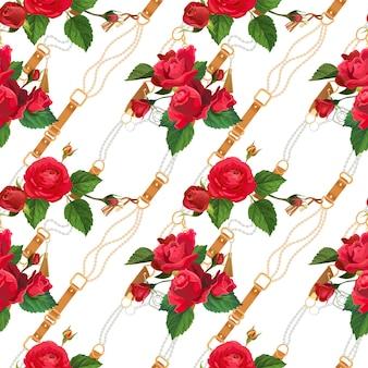 ゴールデンチェーンと花の生地のシームレスなパターン。壁紙、テキスタイルプリントのゴールドチェーン、ベルト、花の要素とファッションの背景。ベクトルイラスト