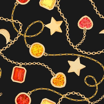 Золотые цепи и драгоценные камни бесшовные модели. ювелирные изумруды, золотые аксессуары, драгоценные камни и бриллианты. модный узор для тканевого текстиля. векторная иллюстрация