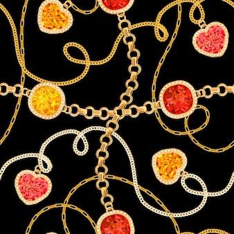 ゴールデンチェーンとジェムストーンのシームレスパターン。ファブリックテキスタイルのジュエリーエメラルド、ゴールドペンダント、宝石、ダイヤモンドのファッションパターン。ベクトルイラスト