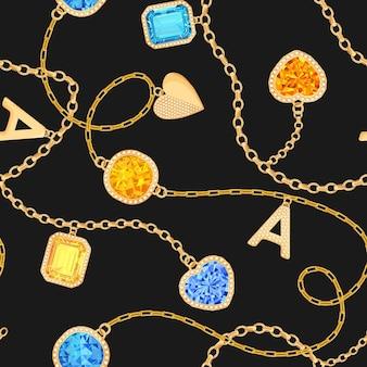 Золотые цепи и драгоценные камни бесшовные модели. ювелирные изумруды, золотые подвески, драгоценные камни и бриллианты. модный узор для тканевого текстиля. векторная иллюстрация