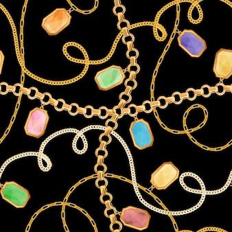ゴールデンチェーンとジュエリー要素のシームレスなパターン。ゴールドチェーンと宝石の背景、壁紙と高級ファッションファブリックデザインプリント。ベクトルイラスト