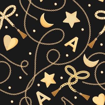 ダイヤモンドのシームレスなパターンを持つゴールデンチェーンと宝石。ゴールドチェーン、ジュエリーアクセサリー、テキスタイル、ファブリックプリント用の宝石を使用したファッションの背景。ベクトルイラスト