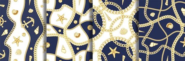 ゴールデンチェーンと貝殻のシームレスなパターンセット