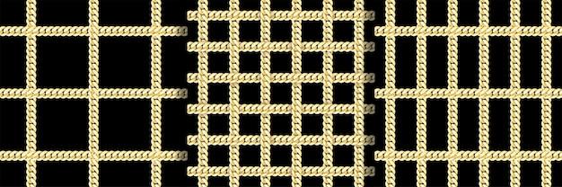 ゴールデンチェーンチェックファッションベクトルシームレスパターンセット
