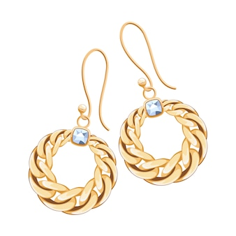 Golden chains earrings with diamonds set. jewelry  illustration.
