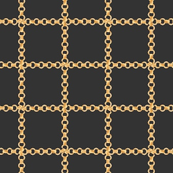 Golden chains fashion fabric seamless pattern. luxury background with gold chain. design with jewelry elements for textile, wallpaper. vector illustration