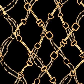 ゴールデンチェーンファッションシームレスパターン。ゴールドチェーンと生地の背景。テキスタイル、壁紙用のジュエリー要素を備えた豪華なデザイン。ベクトルイラスト